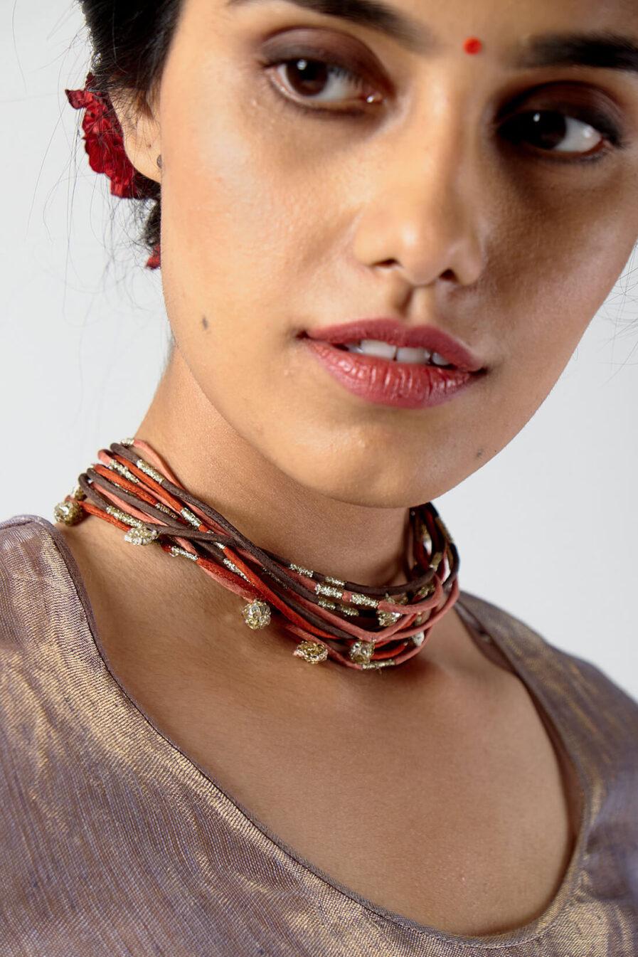 Anavila Zari corded charms neckpiece