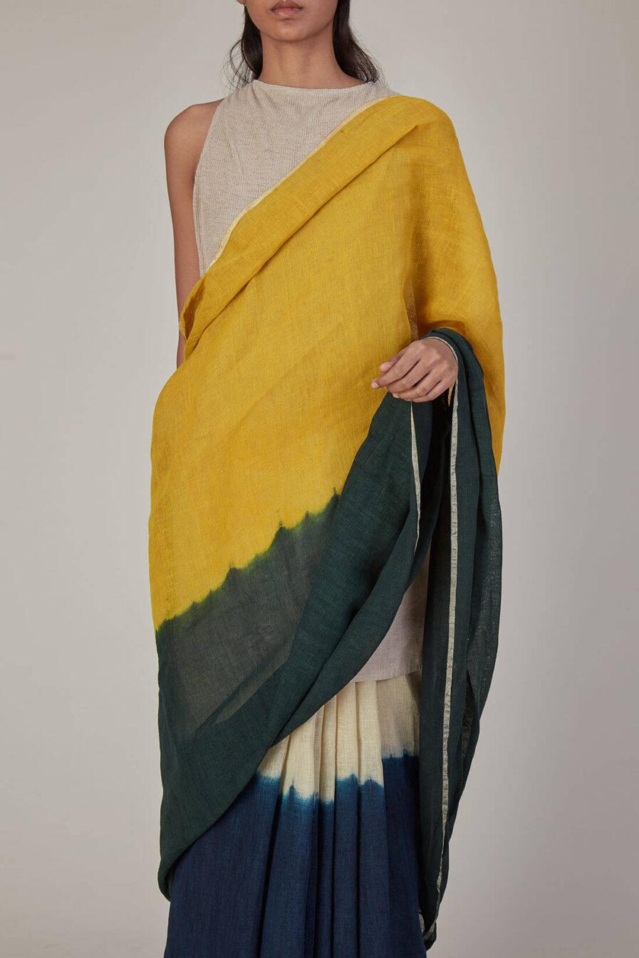 Anavila Colour Block Linen Sari