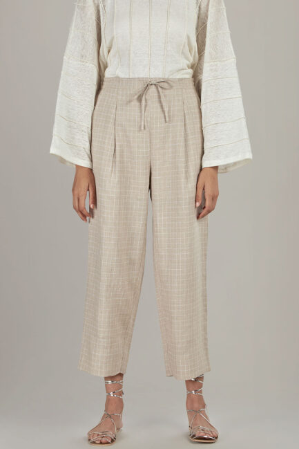 Anavila Big checkered linen trouser