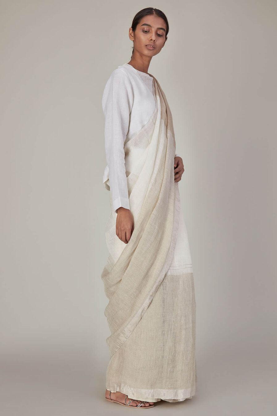 Anavila Half And Half Linen Sari