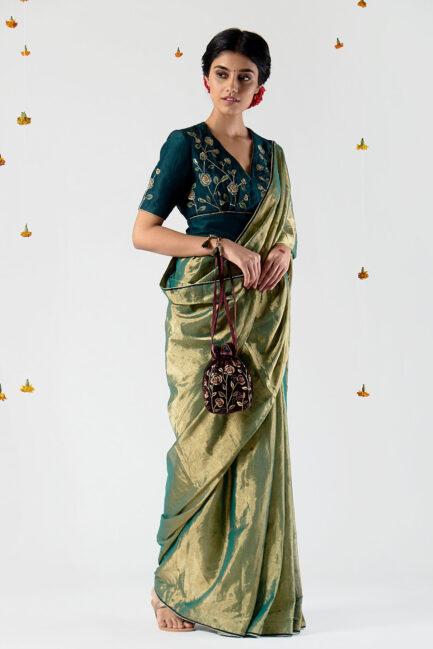 Anavil Metallic polka sari