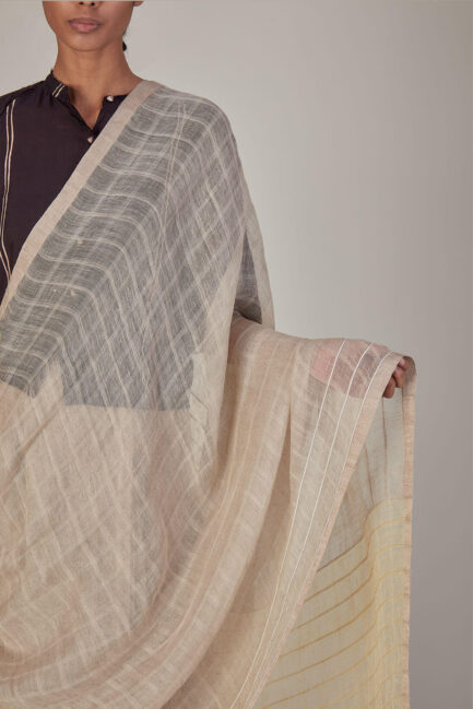Anavila Soft checkered Cord Detailed Sari