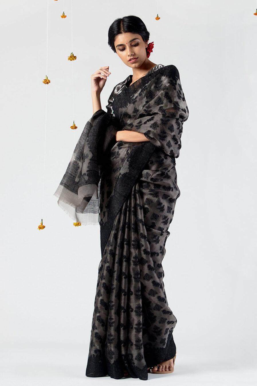 Anavil All over silk jacquard sari