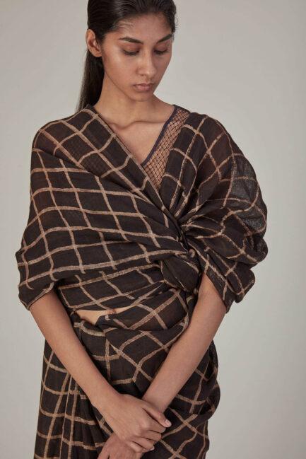 Anavila Printed Checkered Linen Sari