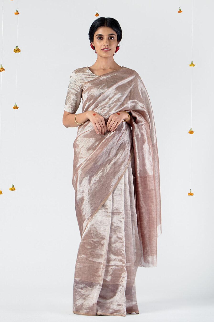 Anavil Silver metallic sari