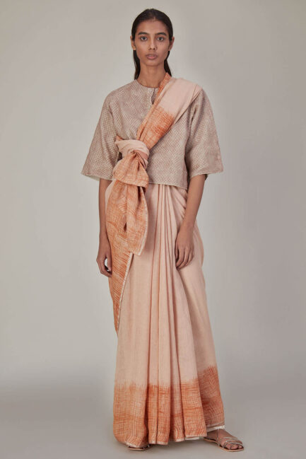 Anavila Peach Fish Net Layered Linen Top