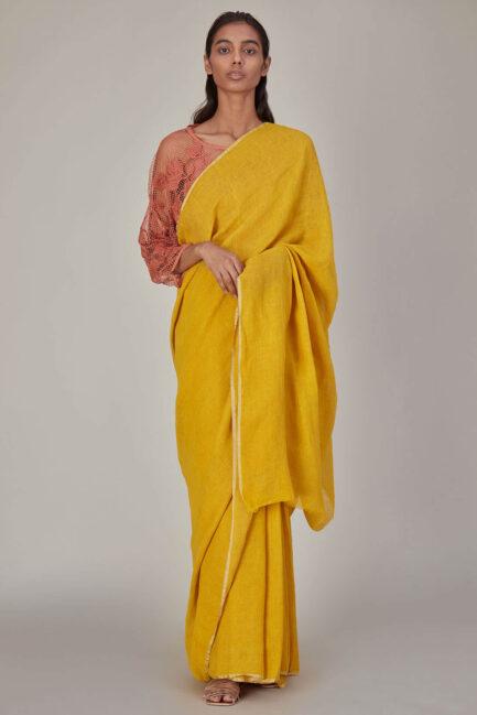 Anavila Yellow Plain Linen Sari