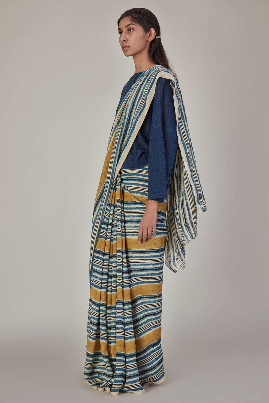 Anavila Indigo Yellow Stripes Linen Sari