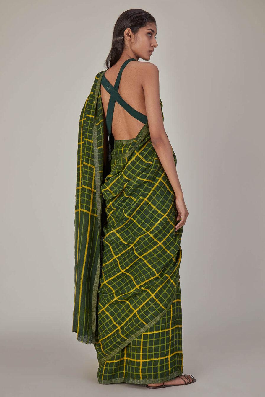 Anavila Green Checkered Linen Sari