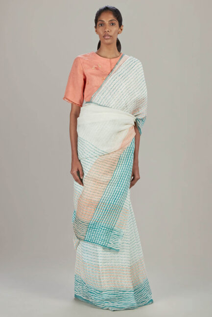 Anavil Wave block printed sari