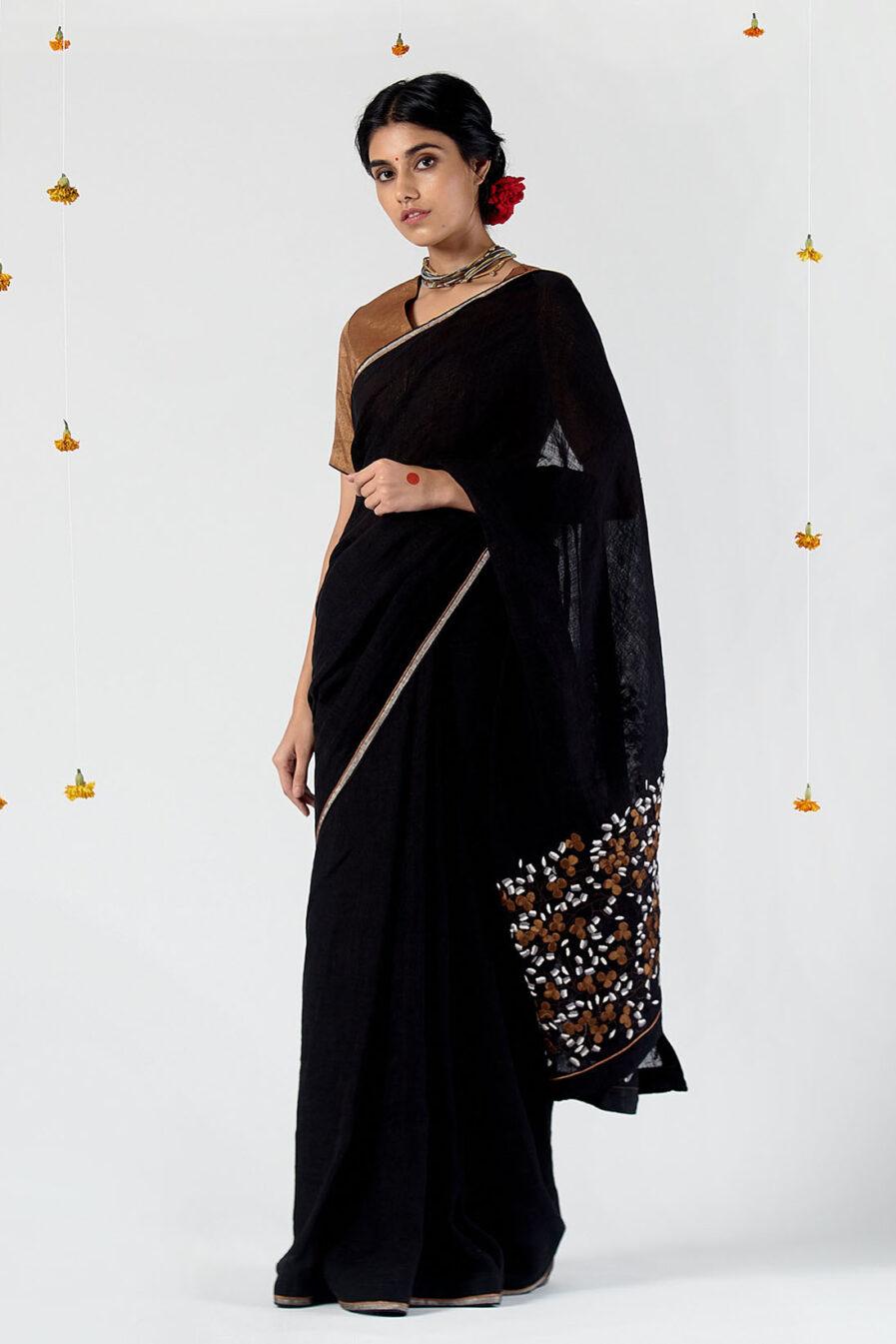 Anavil Pallu khatwa linen sari