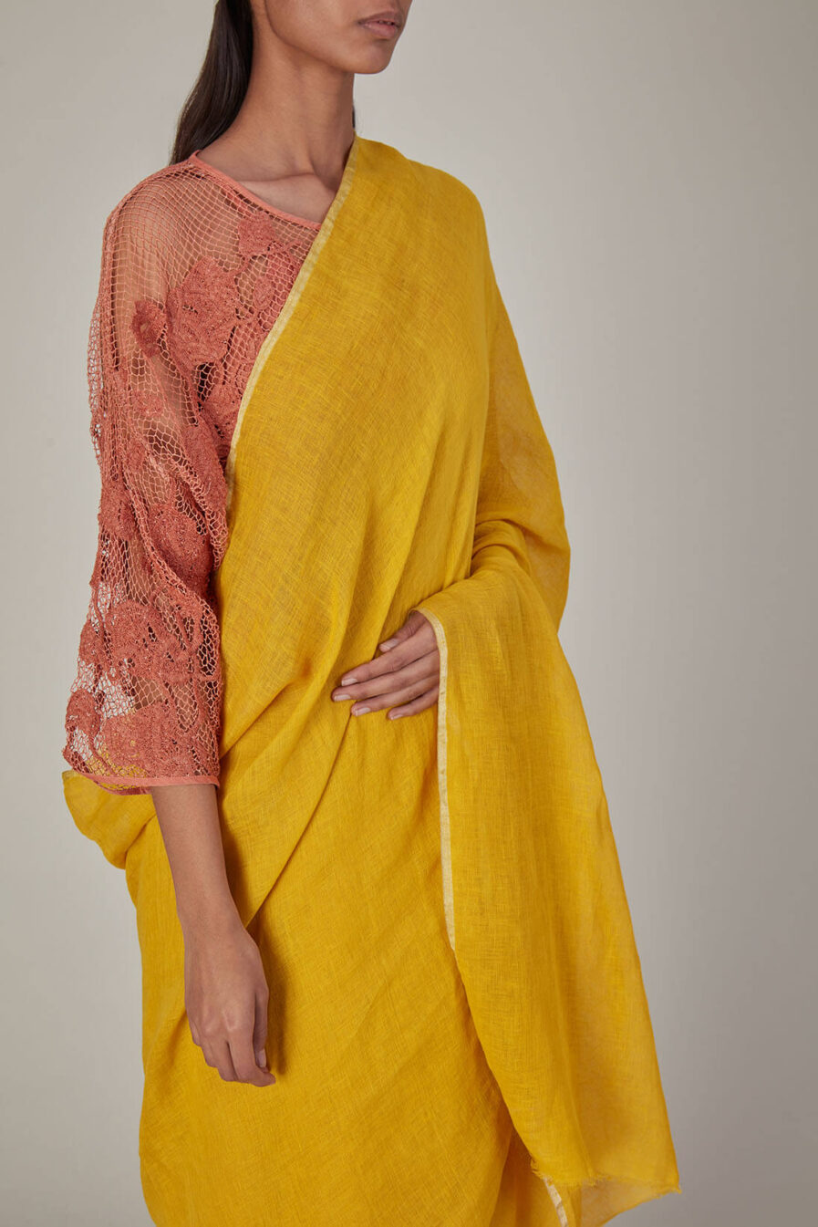 Anavila Yellow Plain Linen Sari