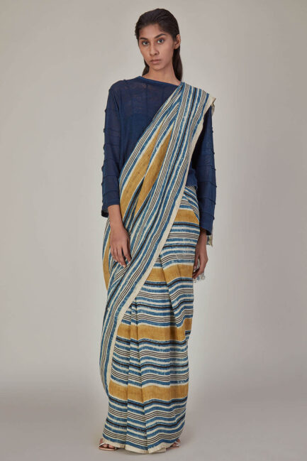 Anavila Indigo Yellow Stripes Linen Sari