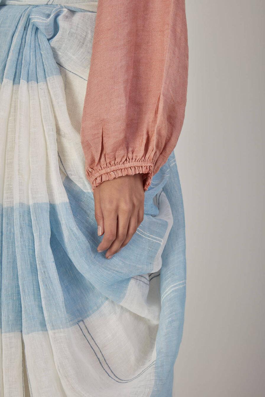 Anavila Blue Dobby Natural Dye Sari