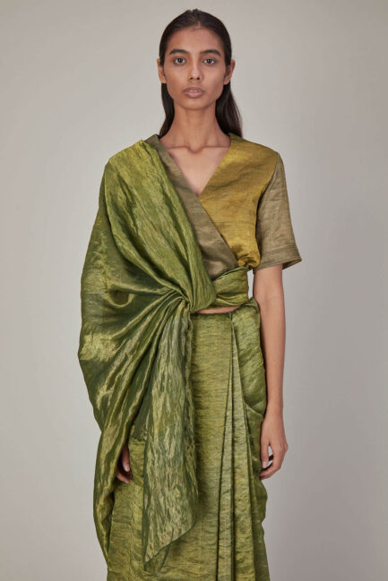 Anavila Sea Weed Green Metallic Blouse