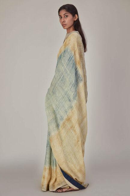 Anavila Brush Stroke Linen Sari