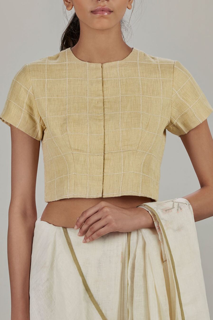 Anavila Yellow grid linen blouse