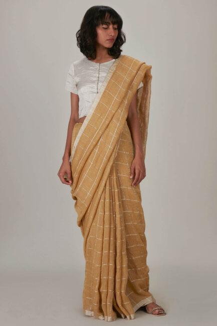 Anavila Silver grid sari