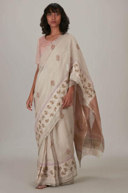 Anavil Lavender Stripe printed sari