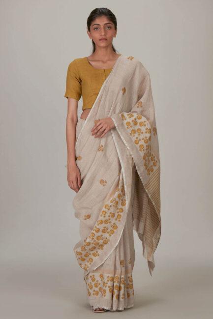 Anavila Spring Block printed linen sari