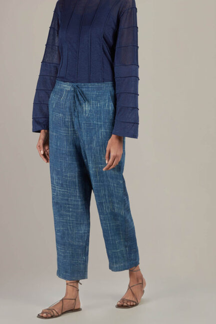 Anavil Indigo Brush stroke linen trouser