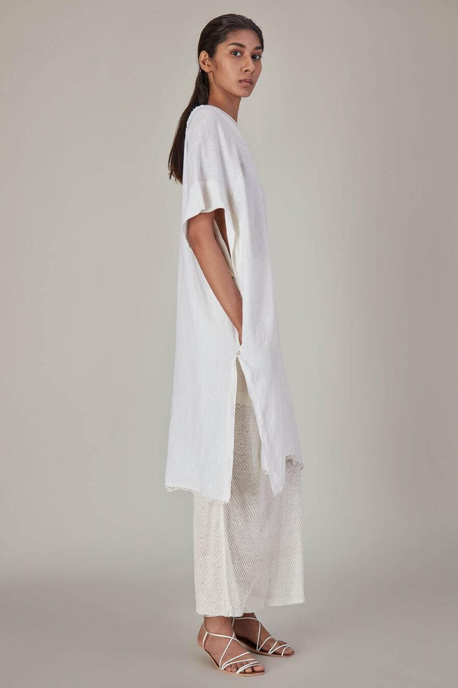 Anavila Ivory Linen Tunic