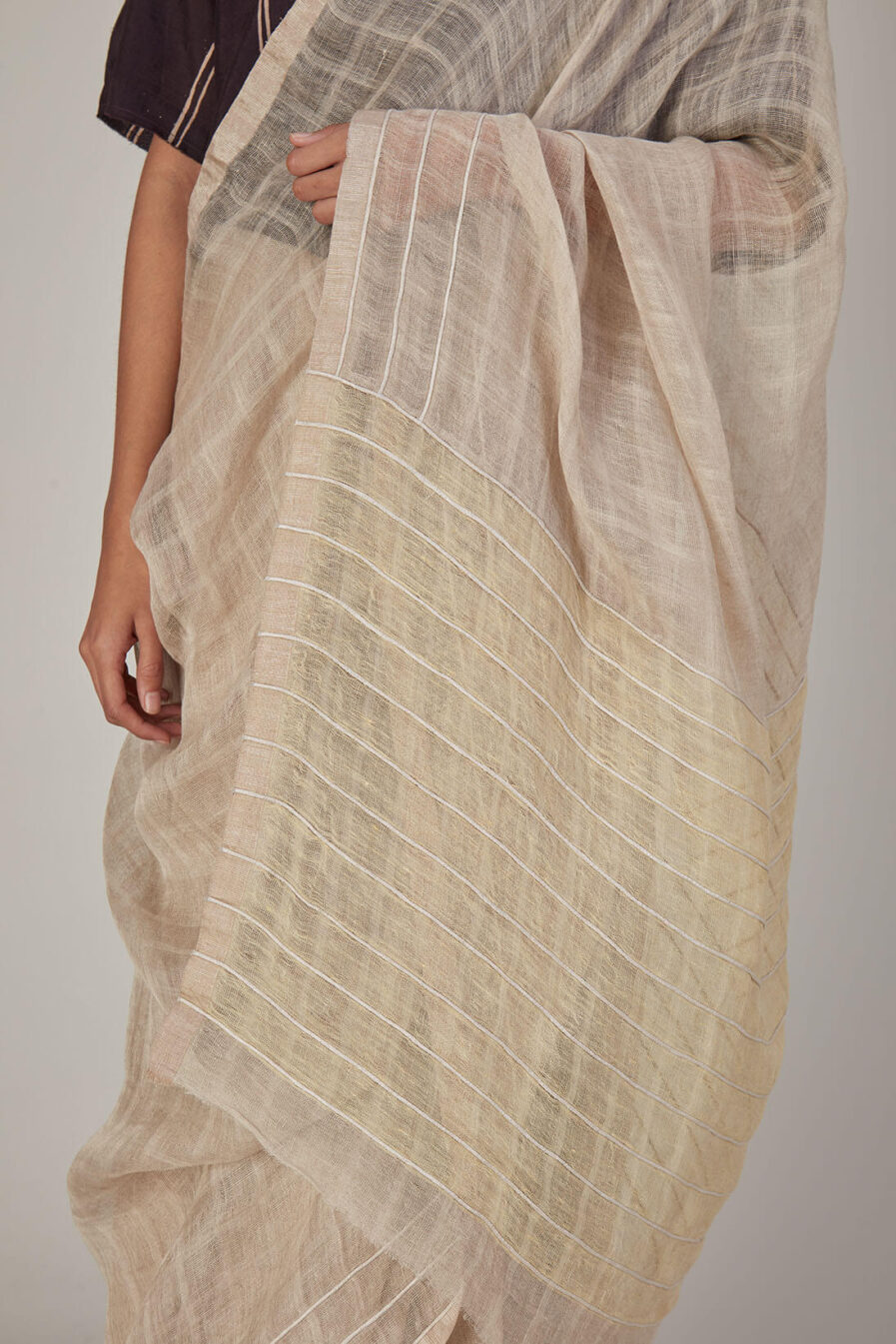 Anavila Soft checkered Cord Detailed Sari