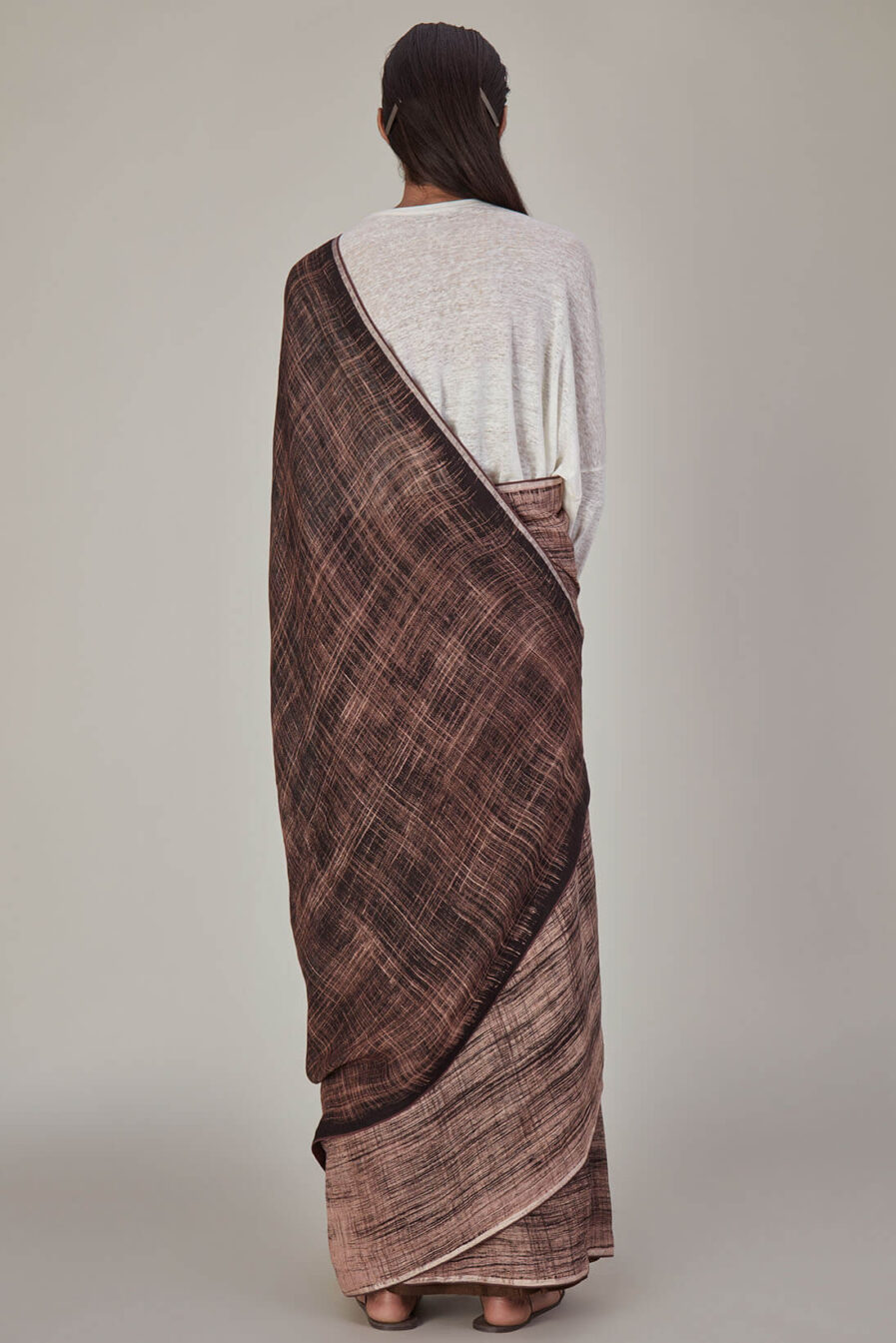 Anavila Cedar Brown Brush Stroke Linen Sari