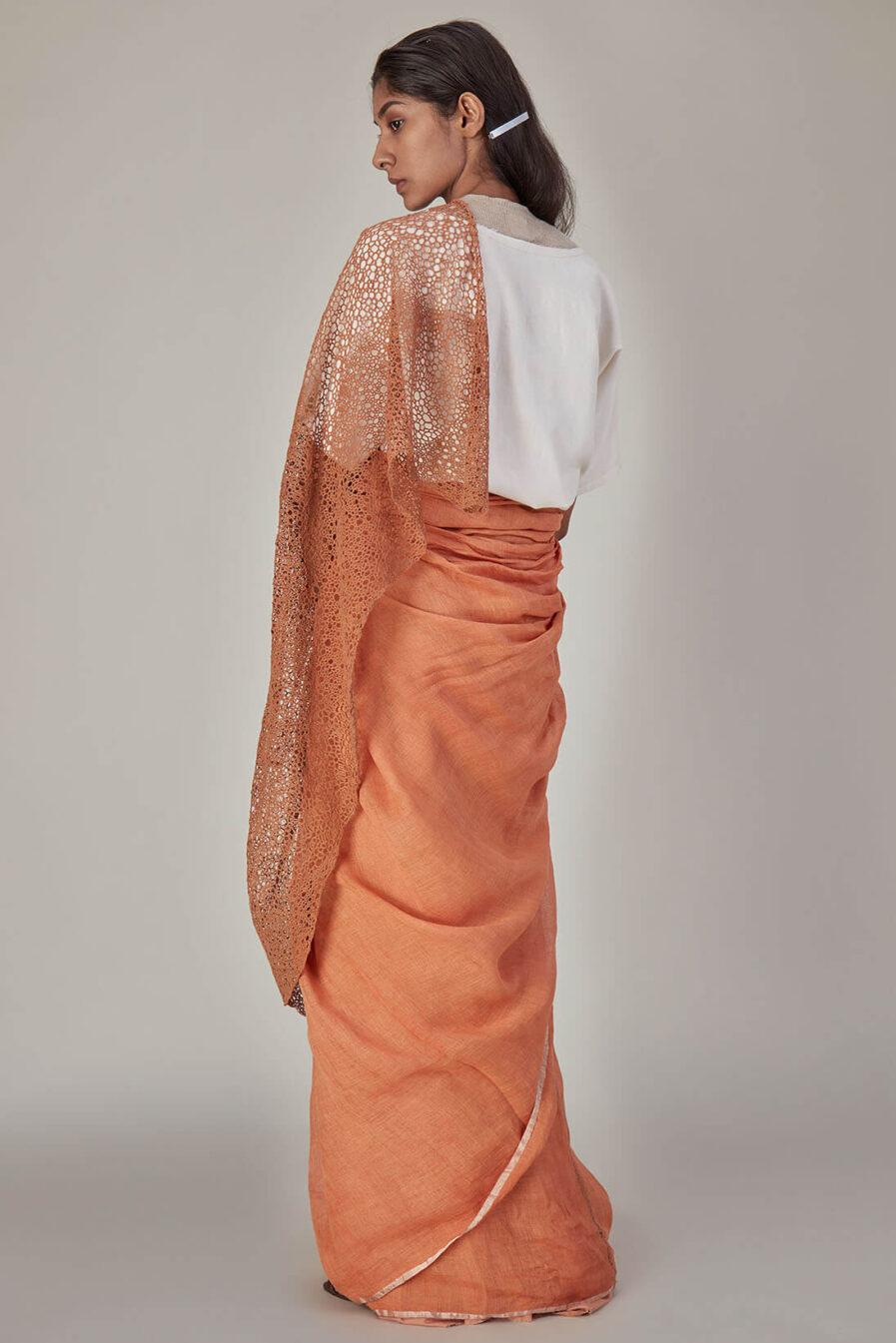 Anavila Peach Basket Weave Pallu Sari