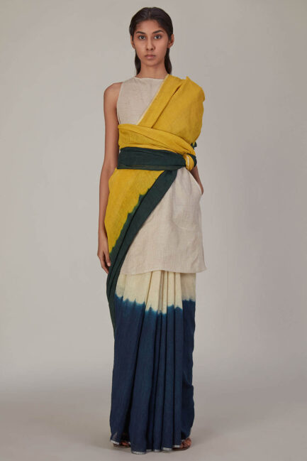 Anavila Colour Block Linen Sari
