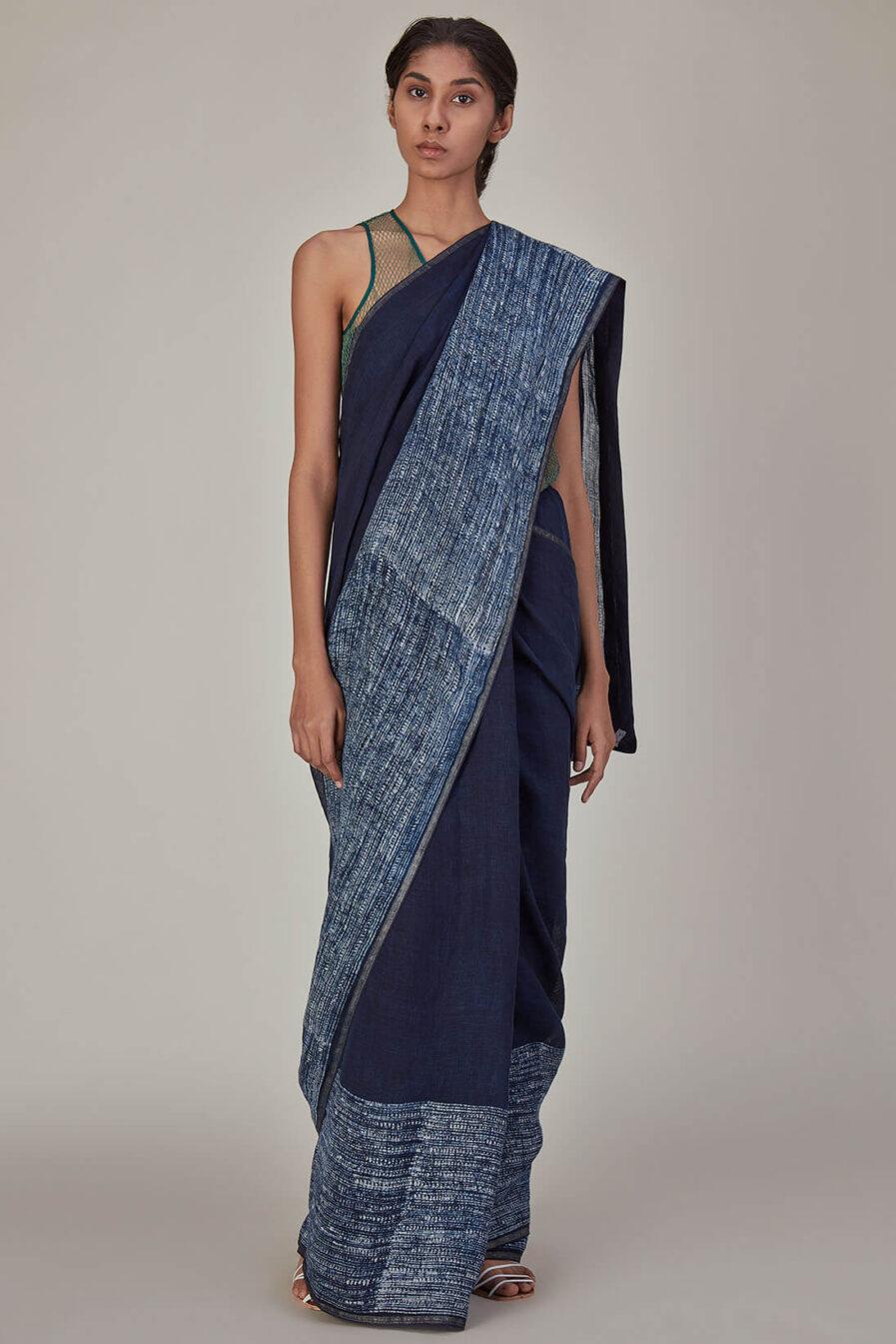 Anavila Sapa Indigo Batik Linen Sari