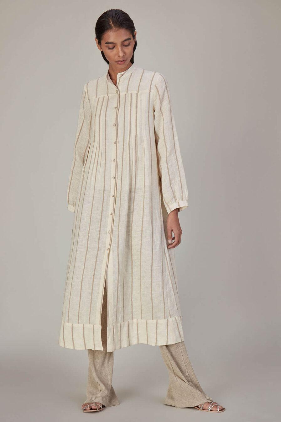 Anavila Corded Stripes Linen Dress