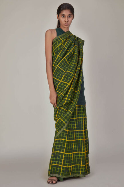 Anavila Green Checkered Linen Sari