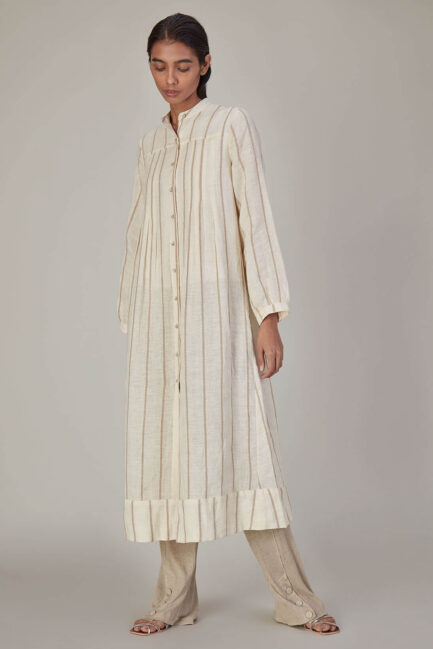 Anavila Corded Stripes Linen Dress