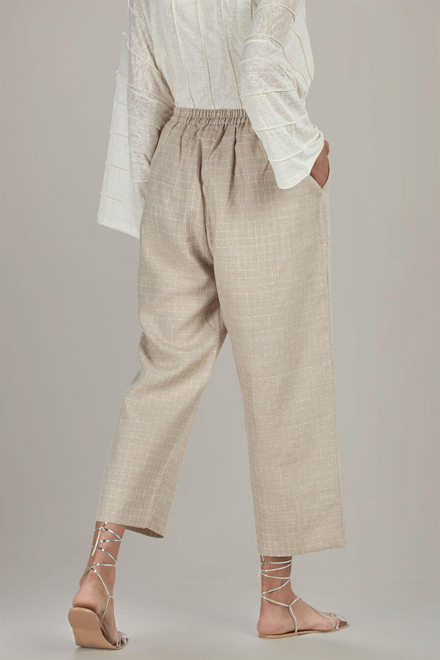 Anavila Big checkered linen trouser