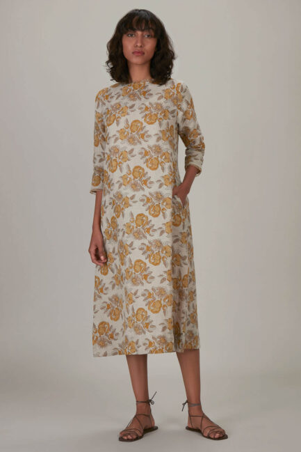 Anavila Yellow Block Printed Estella Dress