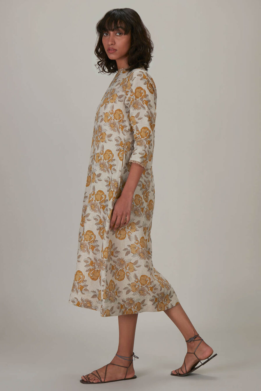 Anavila Yellow Block Printed Estella Dress