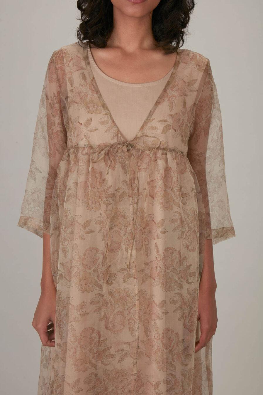 Anavila Peach Block Printed Organza Summer Dress