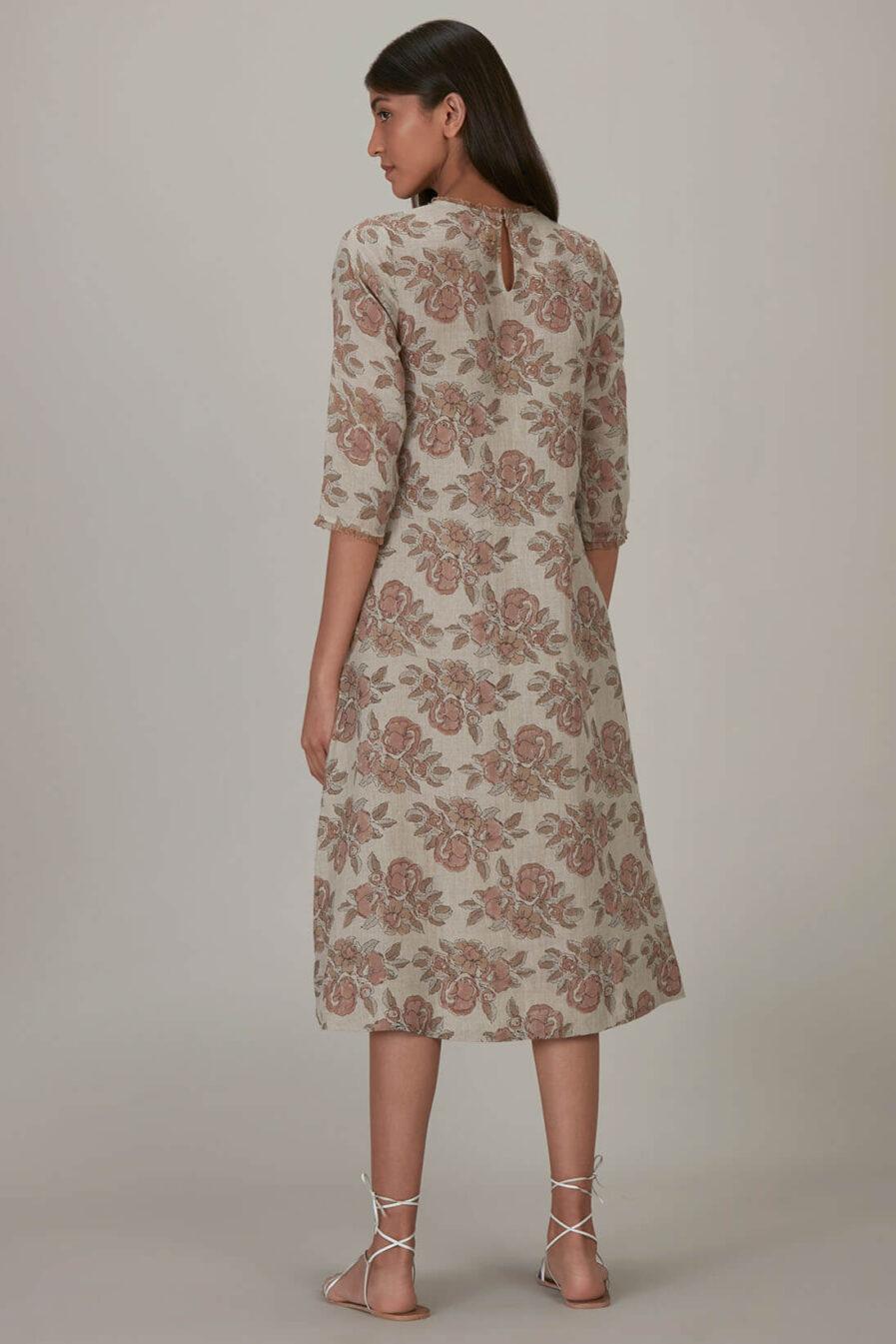Anavila Peach Block Printed Estella Dress