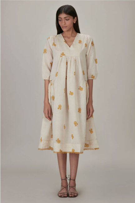 Anavila Yellow Block Printed Anne Dress
