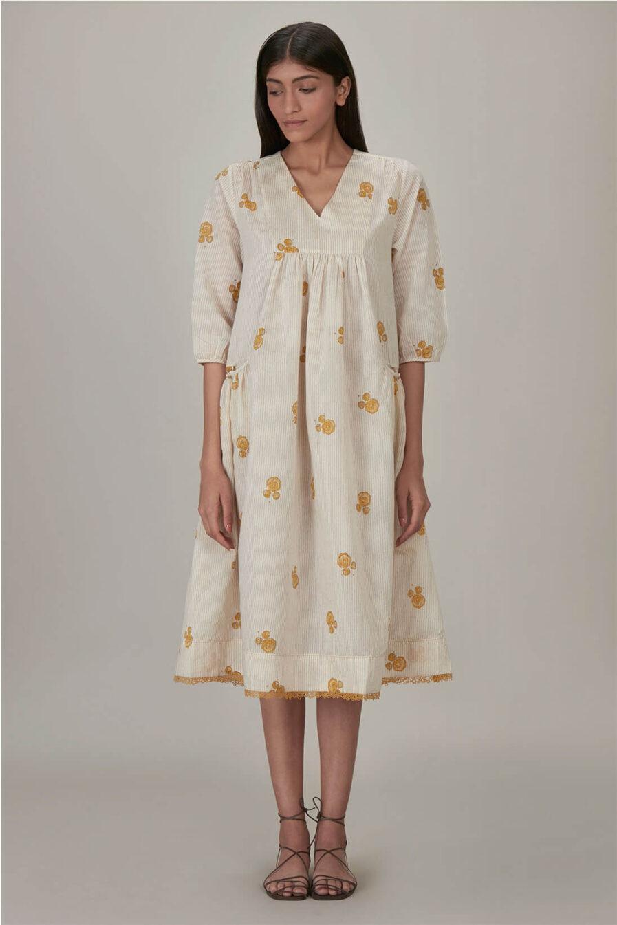 Anavila Yellow Block Printed Anne Dress
