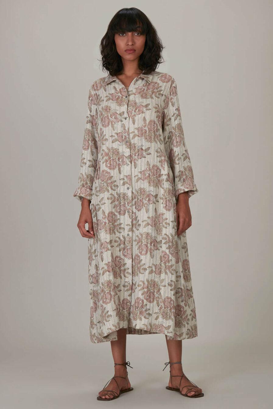 Anavila Blush Block Printed Overlayer Dress