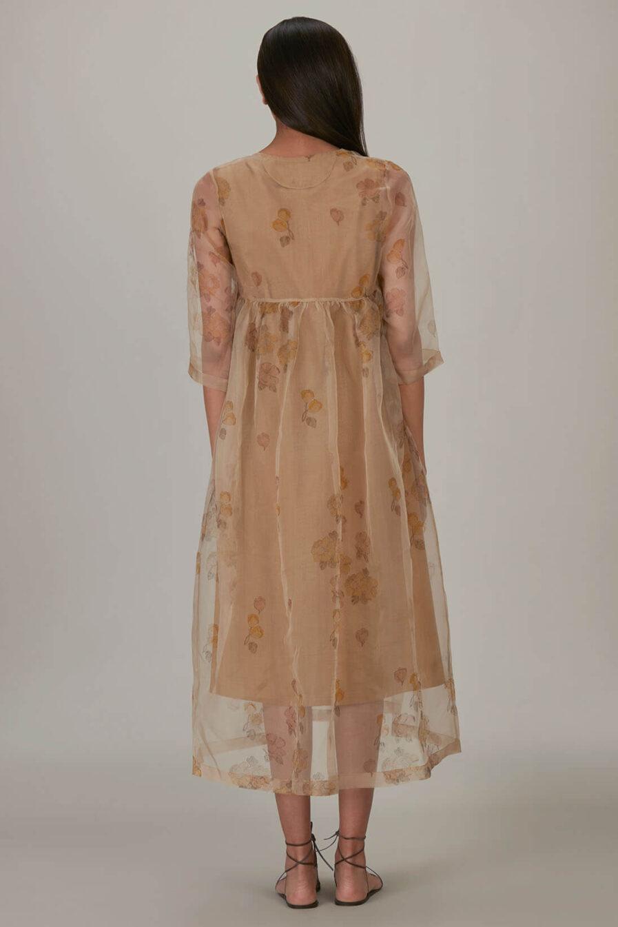 Anavila Yellow Block Printed Organza Summer Dress