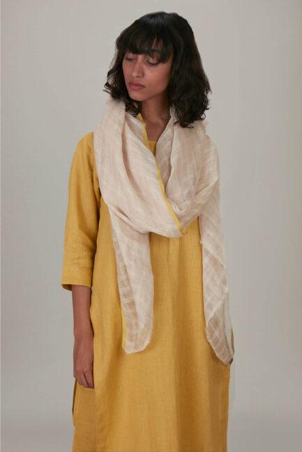 Anavila Yellow Soft Checkered Yellow Selvedge Dupatta