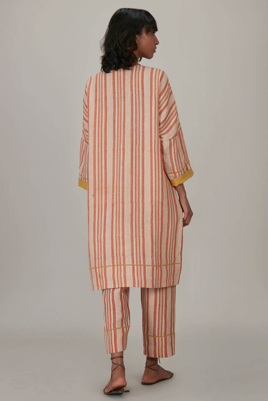 Anavila Peach Block Printed Stripes Organic Linen Tunic