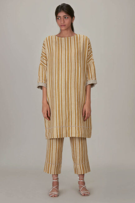 Anavila Yellow Block Printed Stripes Organic Linen Tunic
