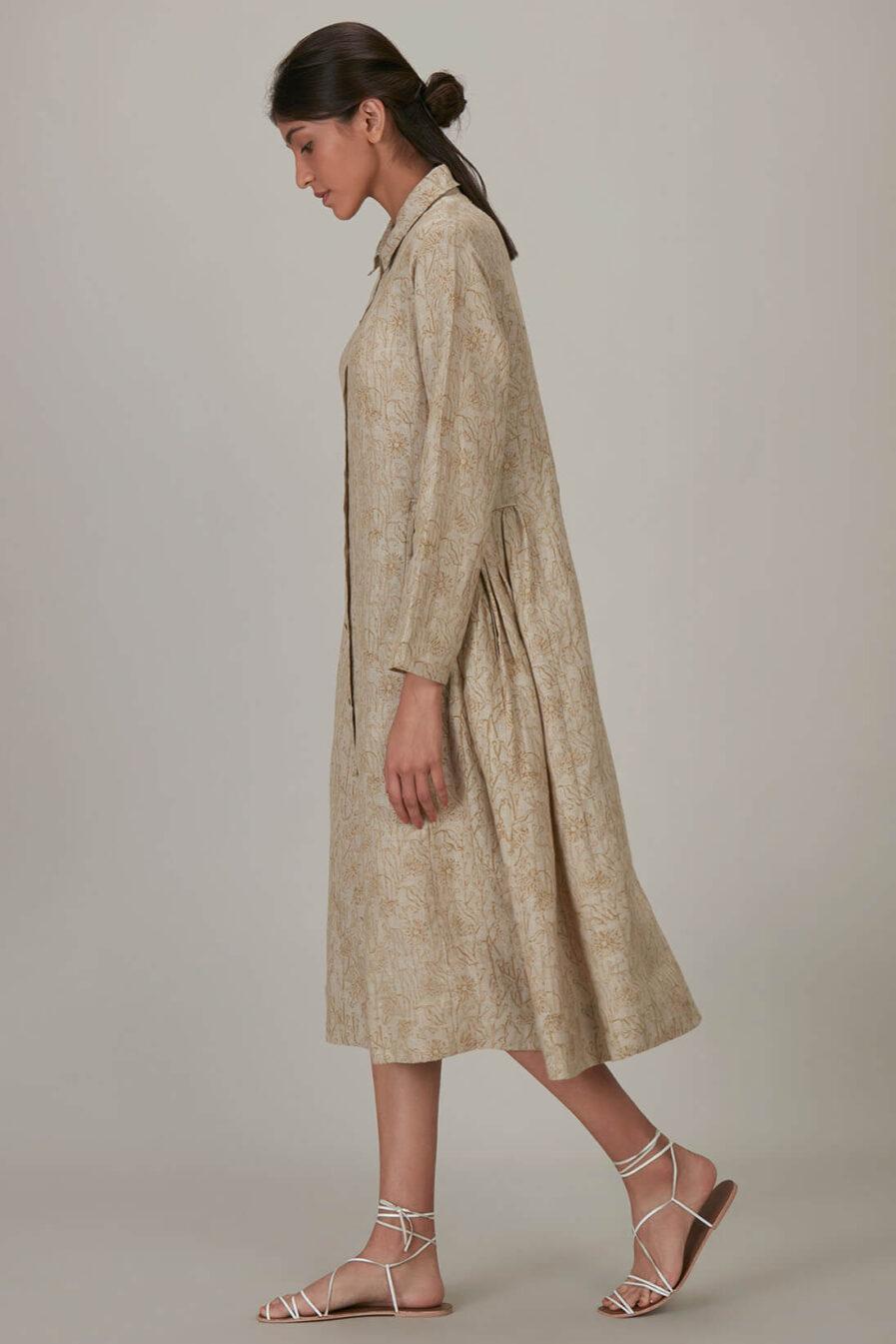 Anavila Yellow Block Printed Summer Over Layer Dress