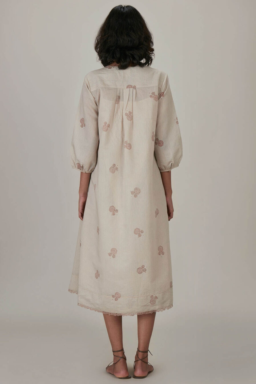 Anavila Blush Block Printed Anne Dress