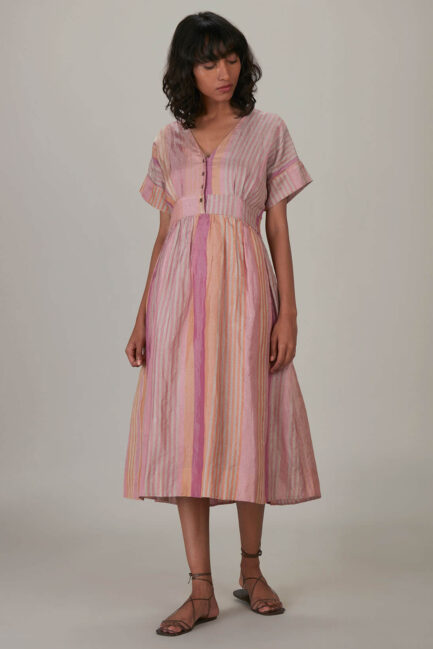 Anavila Pink Metallic Stripes Shimmer Tunic