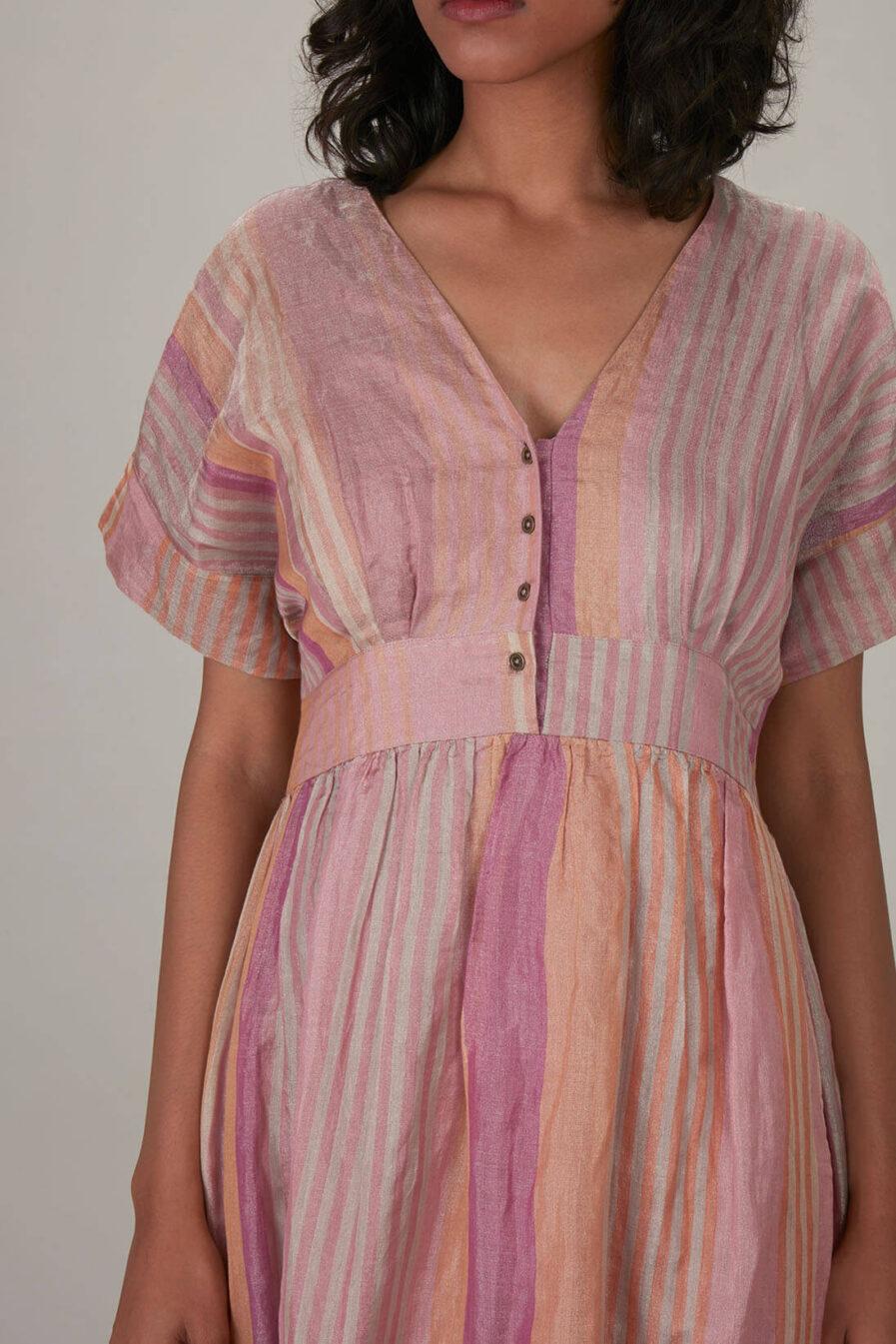 Anavila Pink Metallic Stripes Shimmer Tunic